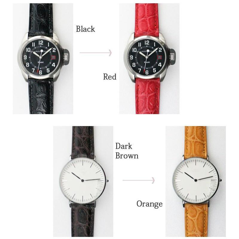 腕時計ベルト 時計ベルト 時計 ベルト 時計バンド 時計 バンド バンビ クロコダイル 玉符 マット ツヤなし BWA021 18mm 19mm 20mm|msg|05