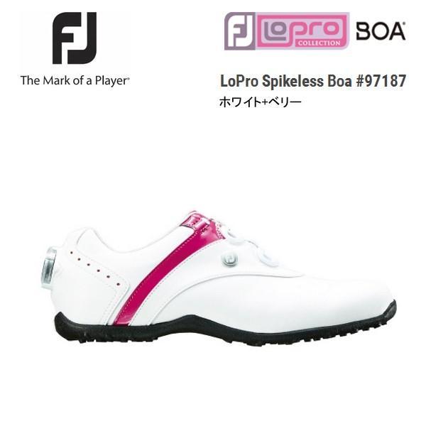 FJ フットジョイ 18 LoPro Spikeless Boa 97187 レディース ホワイト/ベリー 日本正規品