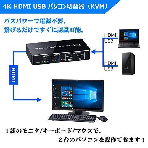 4K KVMスイッチ HDMIディスプレイ USBキーボード・マウスを共有 パソコン切替器(PC 2台用) 4K/30Hz HDMI1.4 USB2.0 msselect 03