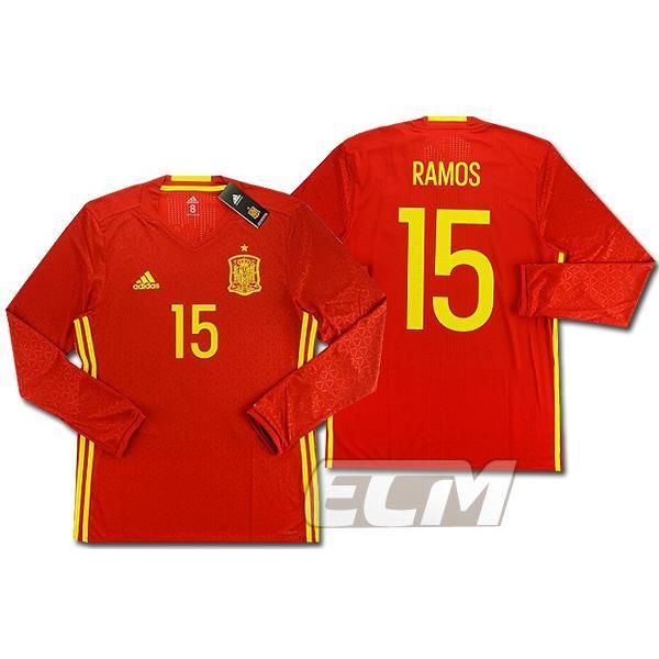 【予約ECM32】【国内未発売】スペイン代表 16-17 ホーム 長袖 15番セルヒオ・ラモス オーセンティックモデル