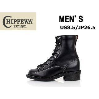 CHIPPEWA/チペワ ★★★メンズ 8インチ(高さ) 8インチレーストゥトゥロガー ブーツ 【US8.5/JP26.5】 (ブラック)