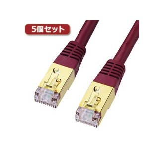 サンワサプライ  【5個セット】 サンワサプライ カテゴリ7LANケーブル2m KB-T7-02WRNX5