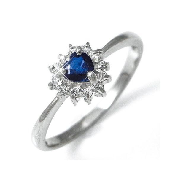 欲しいの Pt100 ハートサファイア&ダイヤリング 指輪パヴェリング 11号, 久米町 7963b6ac