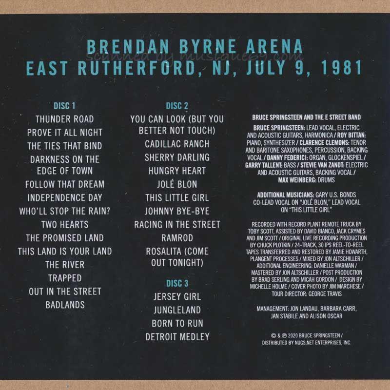 ブルーススプリングスティーン Bruce Springsteen & The E Street Band - Brendan Byrne Arena 1981 (CD)|musique69|02