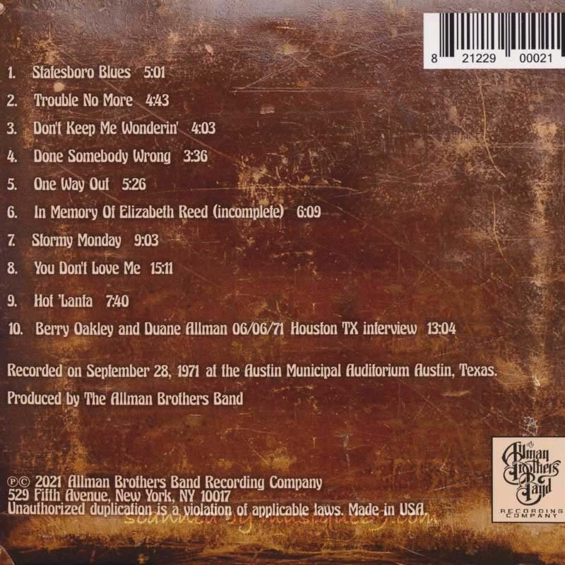 オールマンブラザーズバンド The Allman Brothers Band - Down in Texas '71 (CD)|musique69|02
