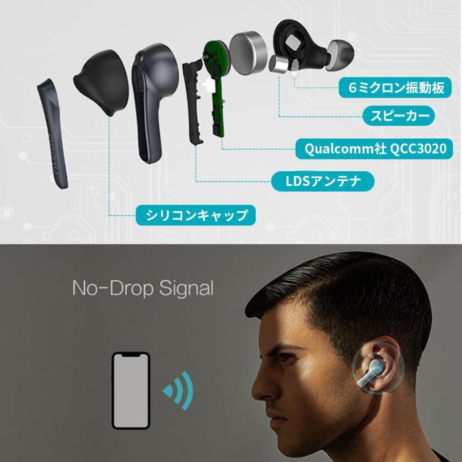 Padmate 完全 ワイヤレスイヤホン Pamu Mini (パムミニ) Qualcomm 10時間再生 IPX6防水 耳から落ちない設計 スポーツに最適 Bluetooth 5.0 AAC aptX|mycaseshop|07