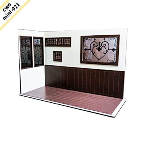 CWGmini-0921 CountryWoodGarden ドールハウス ミニチュア 1/6スケール L型・ワイド アイアン模様窓 腰板・