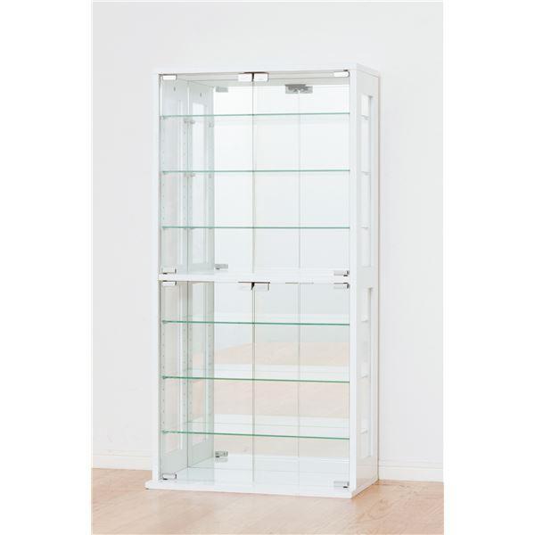 コレクションケース/収納ケース 〔ホワイト〕 ガラス製/背面鏡張り 幅60cm×奥行29cm 幅60cm×奥行29cm 〔組立〕