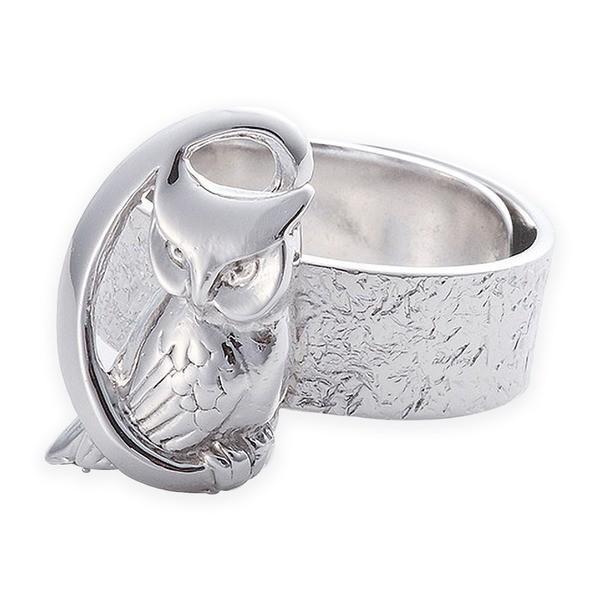 憧れ リング 月にふくろう 岩石 梟 指輪 銀製 磨き仕上げ 日本伝統工芸品 ハンドメイド スターリングシルバー, 高級靴 Discount Shop precious 9cc543c5