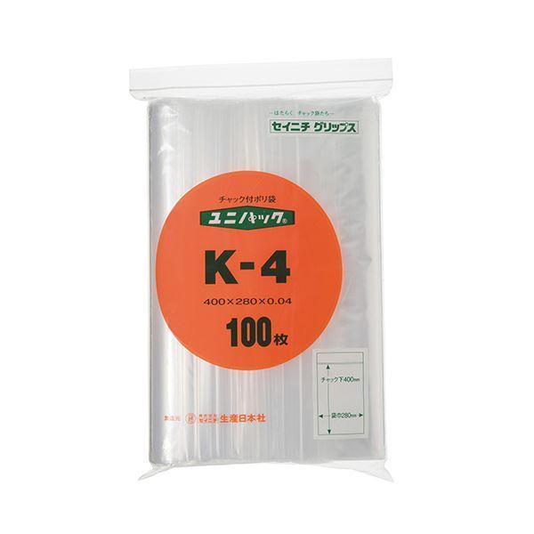 (まとめ) セイニチ ユニパック チャック付ポリエチレン ヨコ280×タテ400×厚み0.04mm K-4 1パック(100枚) 〔×10セット〕