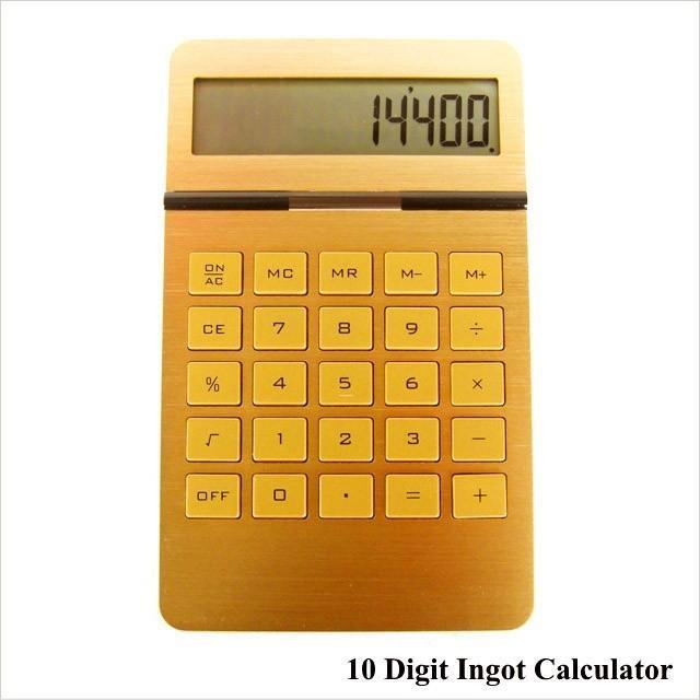 電卓 計算機 おしゃれ ゴールド カリキュレーター 10 Digit Ingot Calculator|n-l