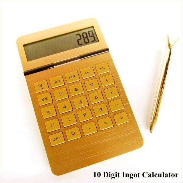 電卓 計算機 おしゃれ ゴールド カリキュレーター 10 Digit Ingot Calculator|n-l|02