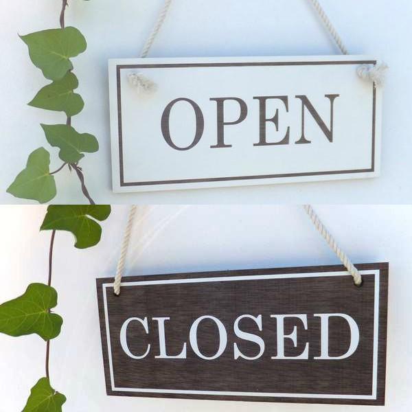 オープン&クローズ看板 おしゃれな 木製 オープンプレート OPEN CLOSED 両面 サイン 営業中 ハンドメイド インテリア 手作り雑貨|n-lighting