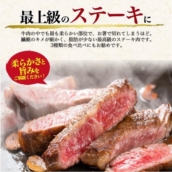 ステーキ 肉 国産黒毛和牛 米沢牛 480g A5ランク シャトーブリアン ヒレ サーロイン 食べ比べセット 霜降り 牛肉 お歳暮 ギフト お歳暮|n-style|04