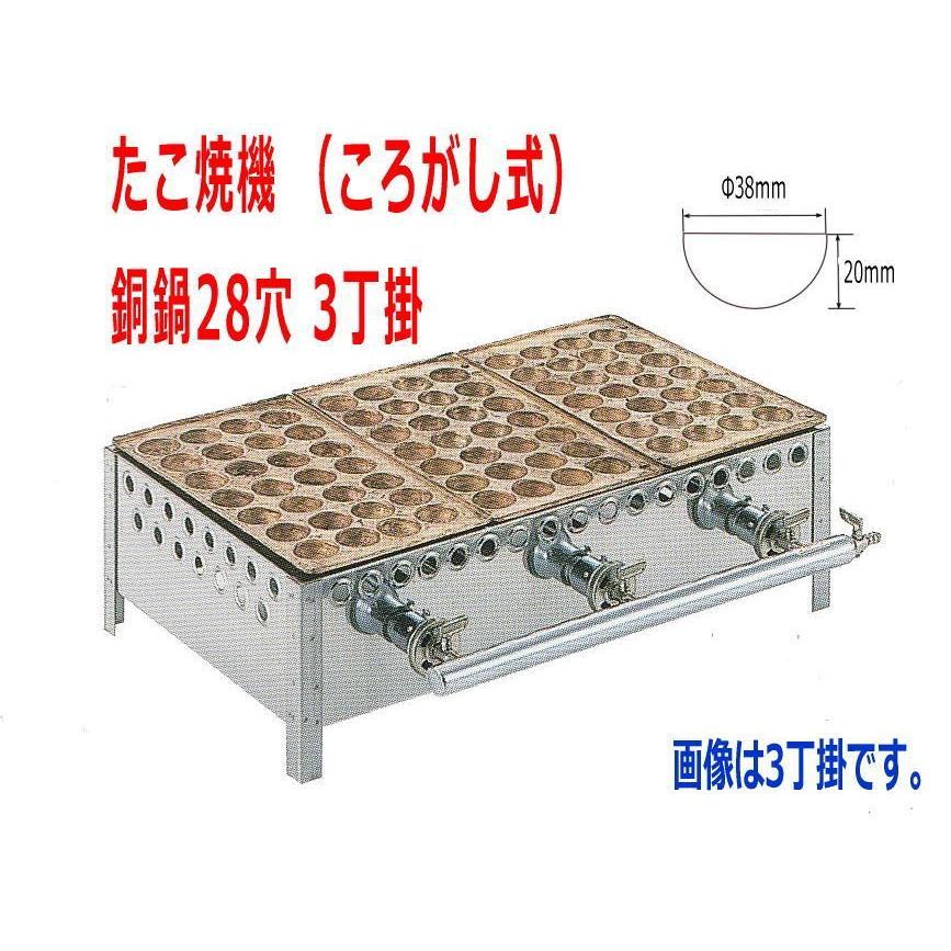 たこ焼き器 業務用 たこ焼機(ころがし式)ガス台付 28穴 銅鍋  3丁掛