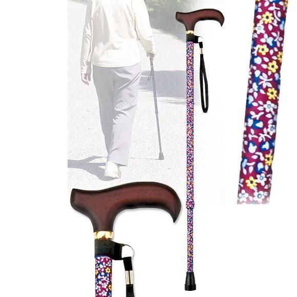 福袋 軽量 赤小花 伸縮ステッキ ギフト つえ 杖 介護用品 おすすめ-介護用品
