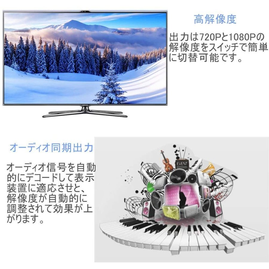 RCA to HDMI 変換 アダプター コンバーター AV to HDMI 変換器 3色ピン 赤 黄 白 音声転送 アナログ 1080P FULLHD コンポジットAV2HDMI ファミコン PS2 ゲーム機 nagomi-company 06