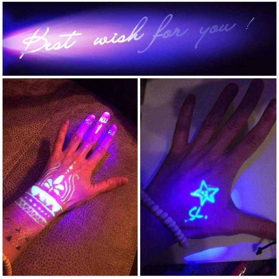 LED UVブラックライト 紫外線ライト 365nm 395nm レジン 硬化 ルアー 汚れ発見 蛍光ペイントの発光 真贋調査|nagomi-company|05