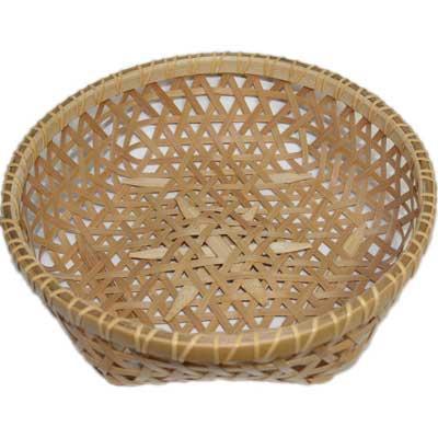 宮城野竹細工 麻の葉編み盛り籠(大) - 和みいちばん