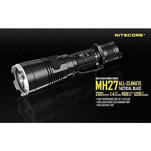 NITECORE MH27 CREE XP-L HI V3 メイン:白色LED + サブ:赤色LED + 緑色LED + 青色LED 搭載
