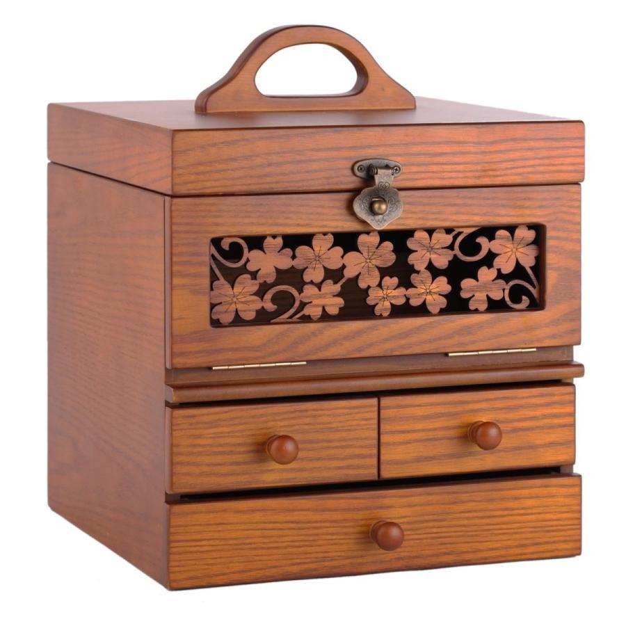 ローリング(Rowling)タモ製 化粧箱 化粧箱 化粧箱 コスメボックス メイクボックス ミラー付き ブラウン 771