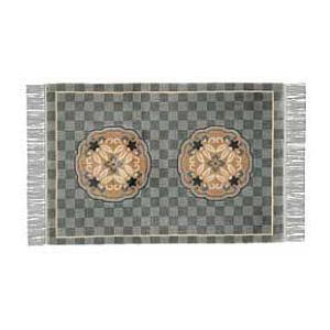 高級手織りシルク玄関マット JCS17 91×152cm 120段/フィート ブルー