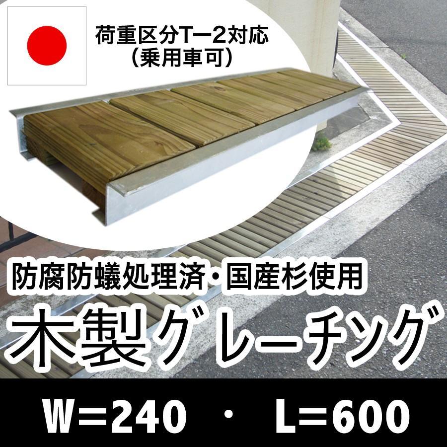 木製グレーチング長さ約600mm・幅約240mm(モスグリーン色:保存処理木材仕様)(側溝蓋/溝蓋/蓋/グレーチング/カバー/U字側溝/溝カバー/国産/杉/天然木)|nakataniweb|10
