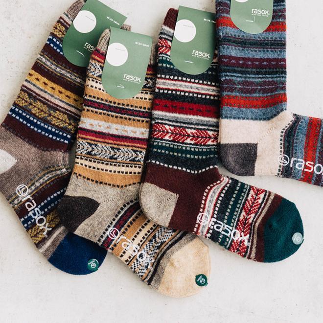 rasox ラソックス ジャガードウールクルー ソックス 靴下 L字 日本製 メンズ レディース ユニセックス 秋 冬|nakota|02