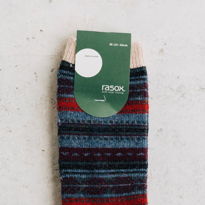 rasox ラソックス ジャガードウールクルー ソックス 靴下 L字 日本製 メンズ レディース ユニセックス 秋 冬|nakota|04
