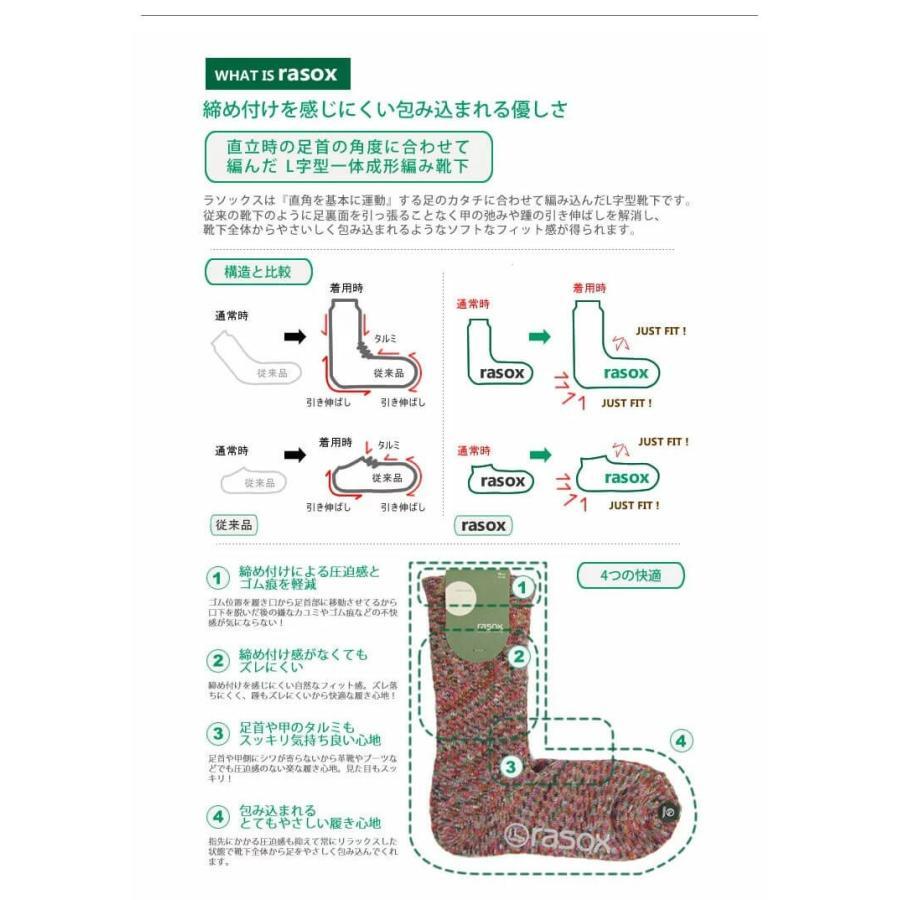 rasox ラソックス ジャガードウールクルー ソックス 靴下 L字 日本製 メンズ レディース ユニセックス 秋 冬|nakota|06