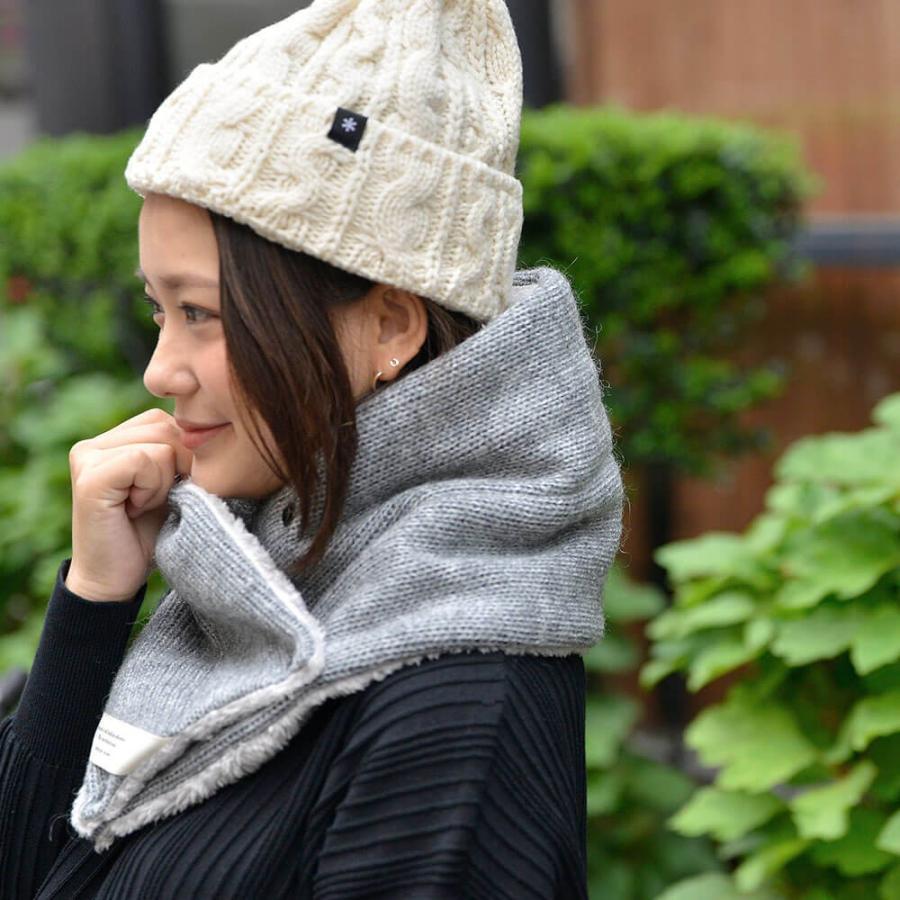 nakota ナコタ スクエアボタン付き マイクロボア シングルスヌードマフラー 小物 冬 防寒|nakota|05