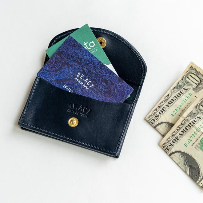 RE.ACT リアクト Solid Indigo Card Case ソリッドインディゴカードケース 名刺入れ カード入れ パスケース 本革 日本製 ビジネス プレゼント ギフト|nakota|05