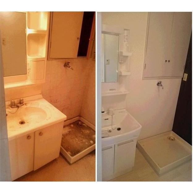 空室(居住者なし)の洗面化粧台交換リフォーム工事 TOTO製 Vシリーズ600サイズ LDPB075BAGEN1A+LMPB075B1GFG1G