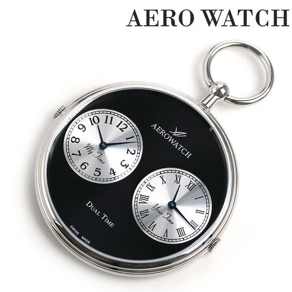 アエロウォッチ 懐中時計 オープンフェイス デュアルタイム 05826 PD03 AEROWATCH ブラック