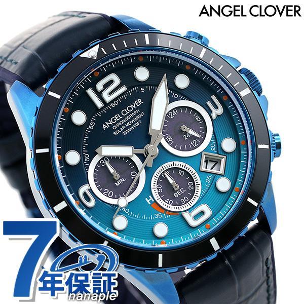 エンジェルクローバー 腕時計 メンズ ソーラー クロノグラフ TCD45NNG-NV ANGEL CLOVER タイムクラフトダイバー ブルー 時計