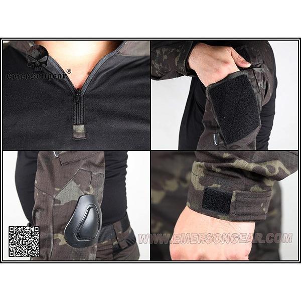 実物生地 EMERSON製 CRYEタイプ コンバットBDU 膝パッド付 上下セット MCBK マルチカムブラック|naniwabase|04