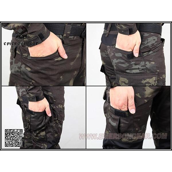 実物生地 EMERSON製 CRYEタイプ コンバットBDU 膝パッド付 上下セット MCBK マルチカムブラック|naniwabase|06