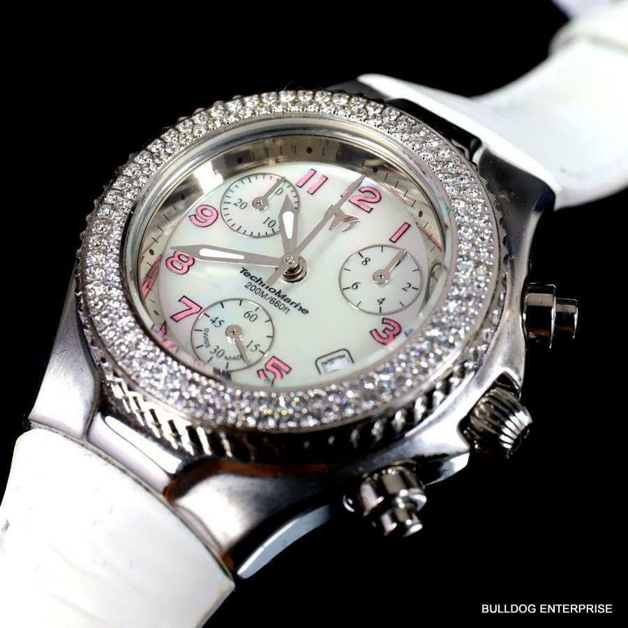男女兼用 テクノマリーン 腕時計 Femmes Technomarine Suisse 128 New Diamants Suisse Fabrique Cuir Chrono Blanc Mop Cuir Watch New, ユガワムラ:b0c4691d --- airmodconsu.dominiotemporario.com