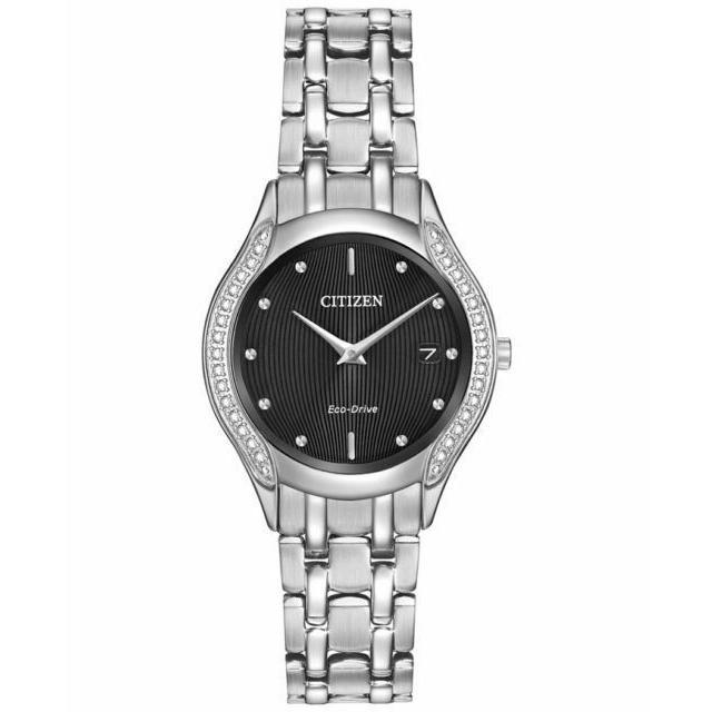 【レビューを書けば送料当店負担】 シチズン Stainless 腕時計 Diamond Citizen Eco-Drive Ladies Eco-Drive エコドライブ Black Dial Diamond Stainless Steel Watch GA1060-57E, こもれび工房:b912996e --- airmodconsu.dominiotemporario.com