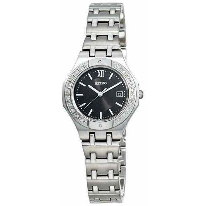 割引価格 セイコー 腕時計 SEIKO レディース Stainless Steel with Steel Diamond Accent Accent レディース/ Black Dial Watch SXDB29, 仁多郡:9554888d --- airmodconsu.dominiotemporario.com