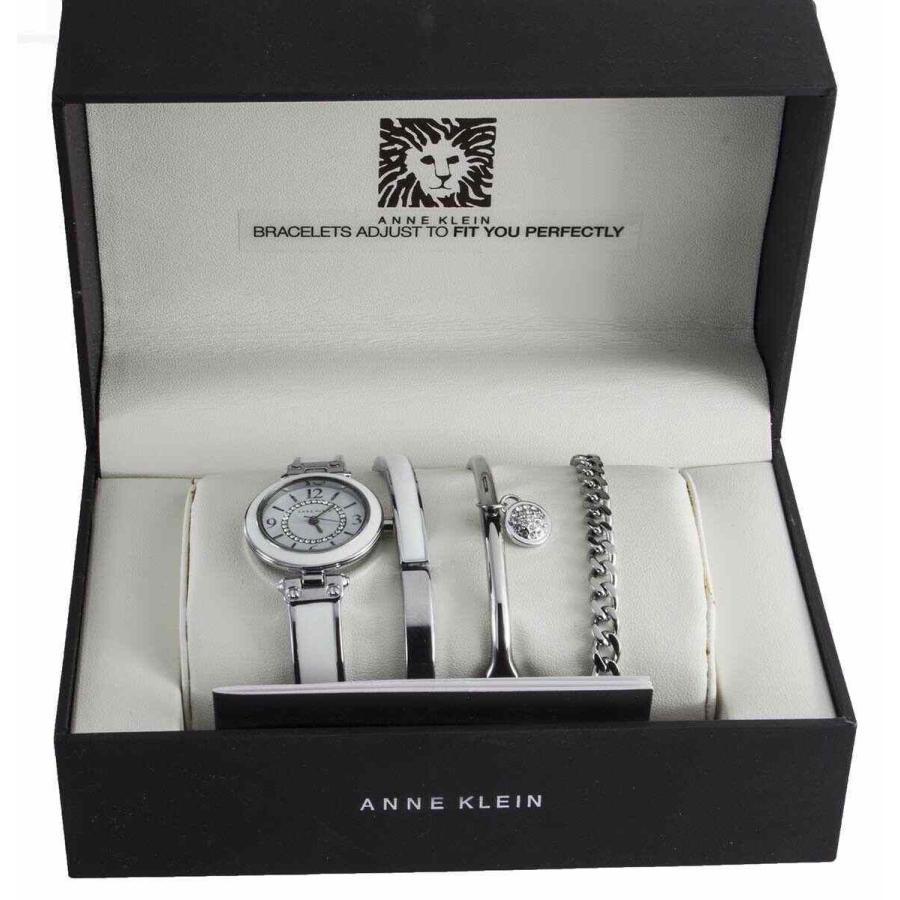 優れた品質 アンクライン 腕時計 Anne Klein レディース White ホワイト & Silver Watch and Bracelet Set AK/2017SVST, amer bijoux アメール ビジュー 8b5f662c