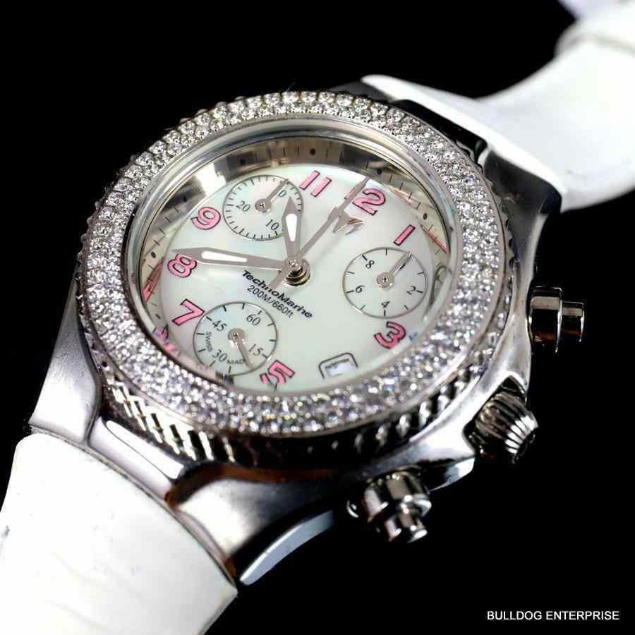 2019年最新入荷 テクノマリーン 腕時計 Femmes Fabrique Technomarine 128 Diamants Cuir Suisse Fabrique Chrono 腕時計 Blanc Mop Cuir Watch New, Vie Belle:8dfe7f83 --- airmodconsu.dominiotemporario.com