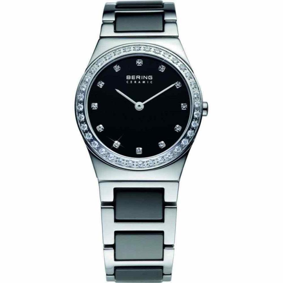 【日本未発売】 ベーリング 腕時計 32430-742 Bering Lds Black Ceramic crystal set dial bracelet watch, 妙高高原町 75bc31bd