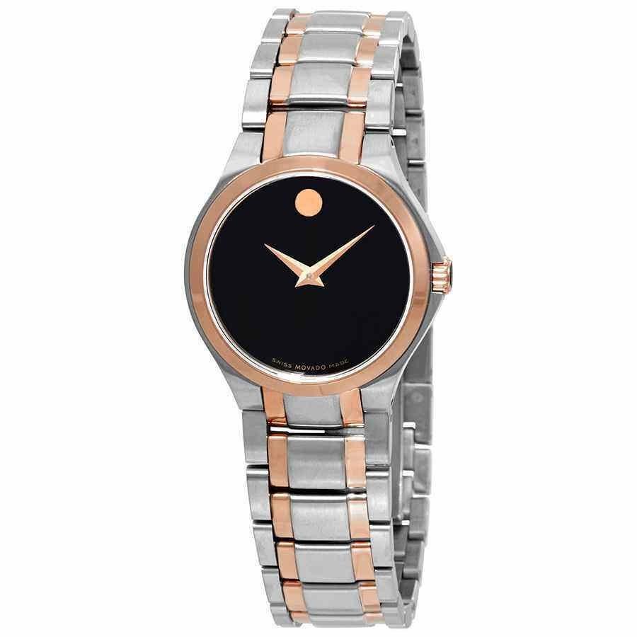 名作 モバード Dial 腕時計 Movado Black Dial Watch Two-tone Ladies Two-tone Watch 0607084, エクストリーム:816f2ed3 --- airmodconsu.dominiotemporario.com