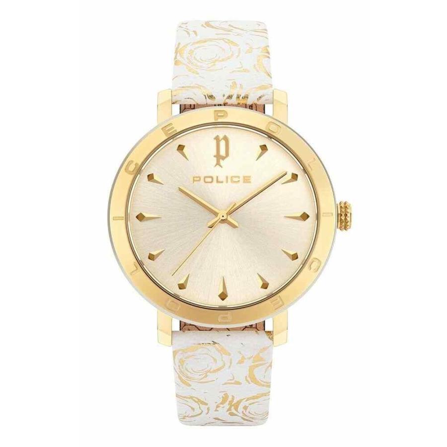 全ての ポリス 腕時計 Police Ponta レディース Watch PL16033MSGS-06 Analog Leather Gold, White ホワイト, ファミコンくん2号店 93530bdf