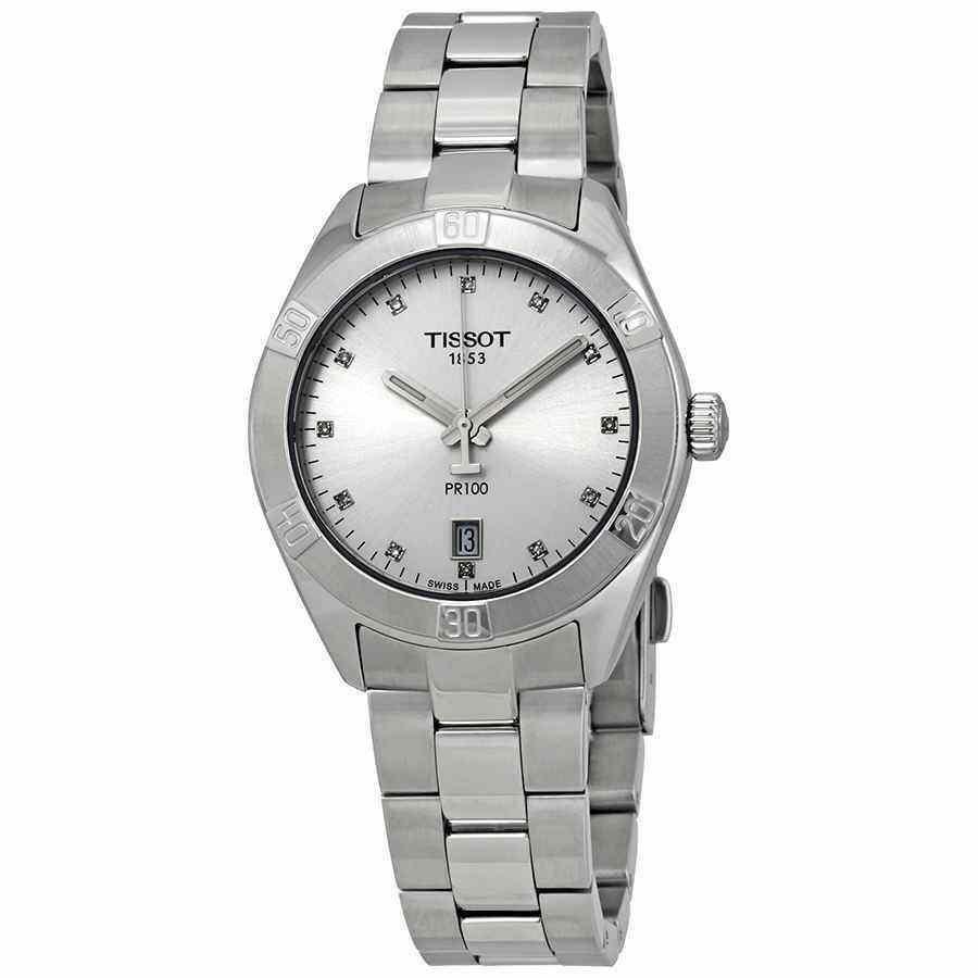 【激安アウトレット!】 ティソ 腕時計 Tissot PR 100 Diamond Silver Dial Ladies Watch T101.910.11.036.00, ペットの雑貨屋さん spring 7f1dc574