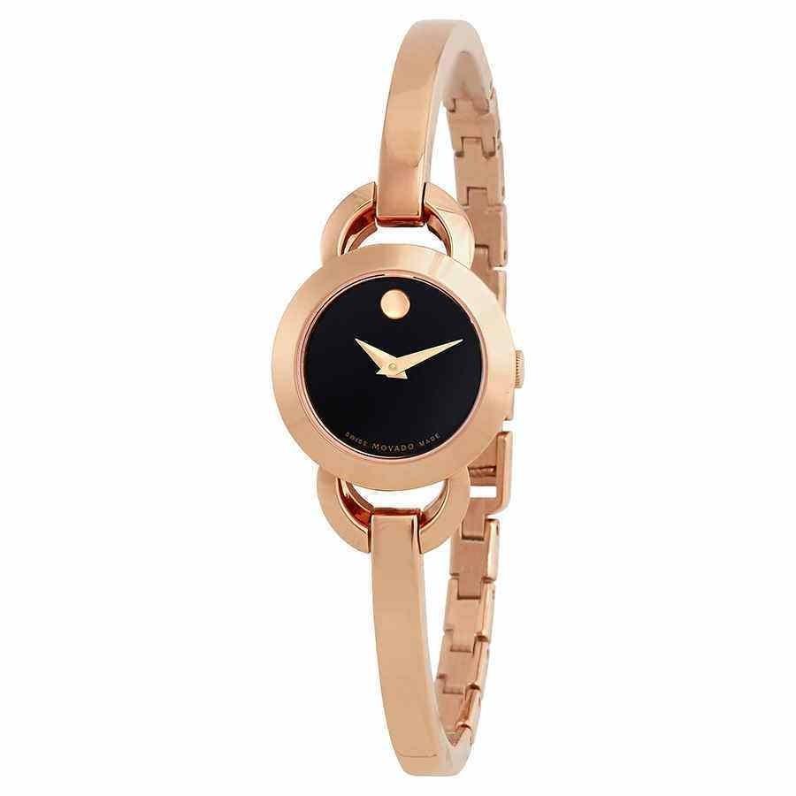 最安価格 モバード 腕時計 Movado Rondiro Black Dial Rose Golf-tone Ladies Watch 0607065, スマホケース IQOS商品のShopTiara b6a1f33c
