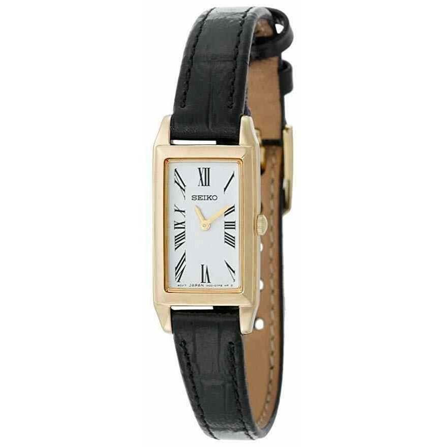 美品  セイコー 腕時計 Seiko レディース SUJF80 Dress Baguette Gold Tone Dial Black Leather Strap Watch, SHOE MANIACS-靴&ブーツ通販 080c6211