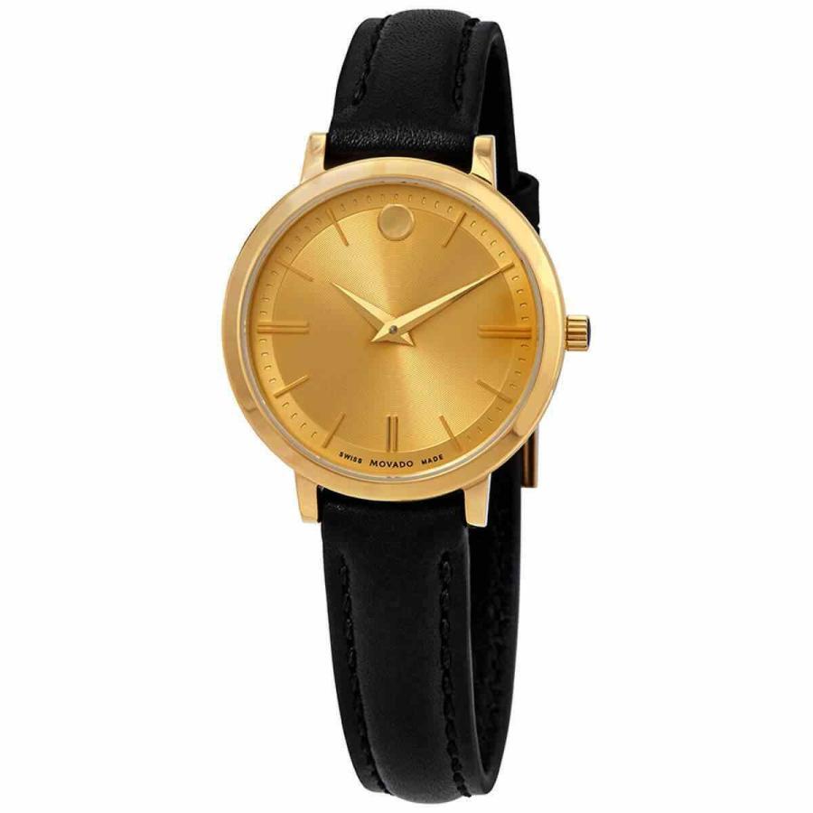 格安新品  モバード 腕時計 Movado レディース Watch Ultra Slim ウルトラスリム クォーツ Gold Tone Dial Black Strap 0607158, COTON DOUX コトンドゥジャパン 8dead290