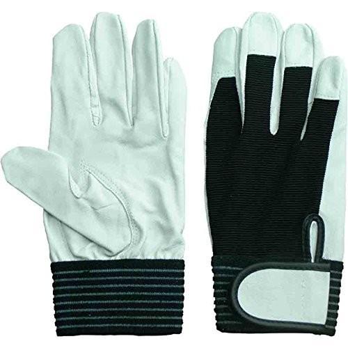 ACE[エースグローブ本舗]豚表革手袋バンディット豚甲メリマジック(2双組5パック・白×黒)《012-AG5153-2P》 (L)